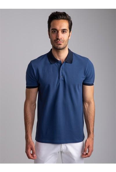 Dufy Saks-Siyah Erkek T-Shirt - Slim Fit
