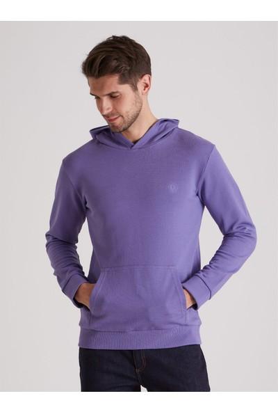 Dufy Mor Düz Kapüşonlu Erkek Sweatshirt - Regular Fit