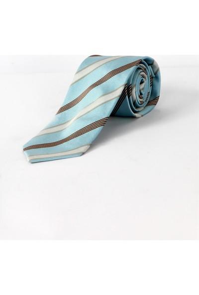 Dufy A.mavi Çizgili Ipek Kravat