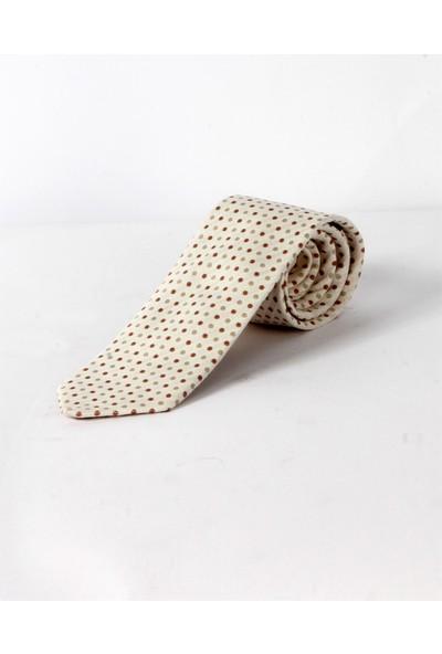 Dufy Beyaz Noktalı Ipek Kravat
