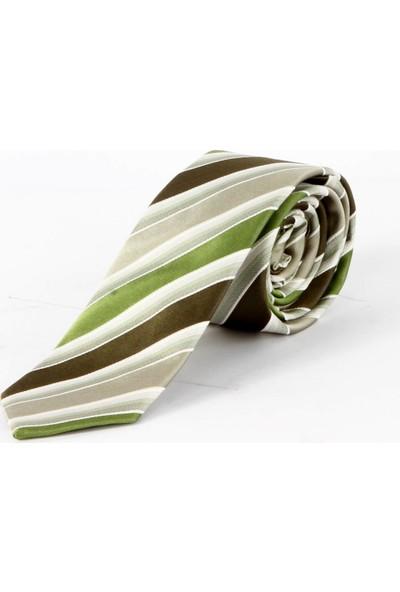 Dufy Yeşil Çizgili Ipek Kravat