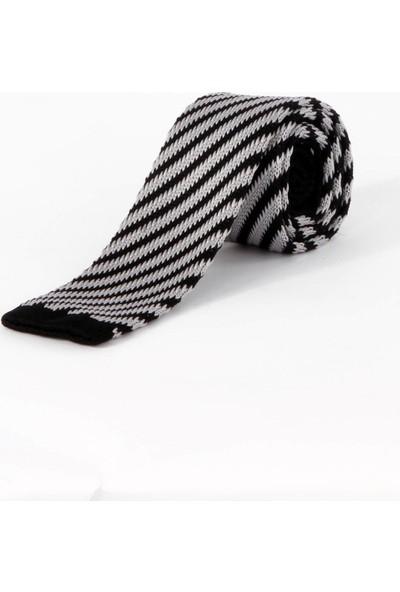 Dufy Siyah Çizgili Örme Kravat