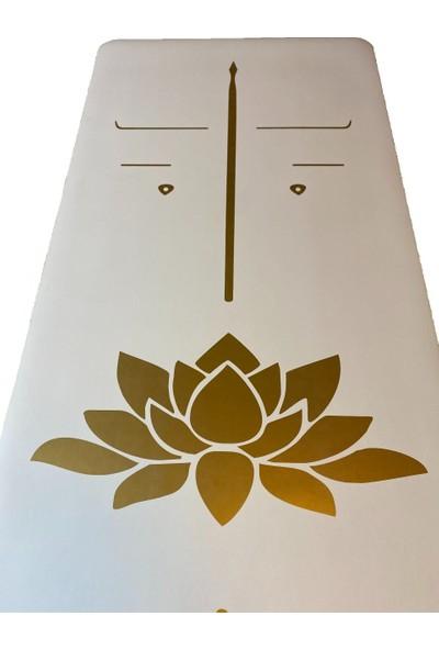 Yogatime Rubber Yoga/pilates Mat Golden Line 5 Mm. Lotus Beyaz