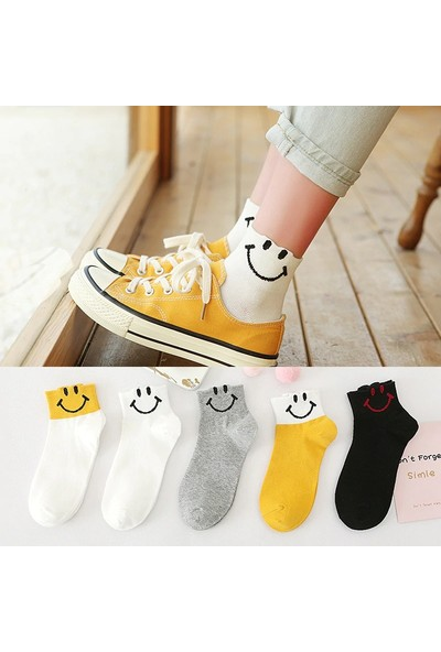 Çorapmanya 5 Çift Yarım Konç Gülen Yüz Ifadeli Kadın Çorap