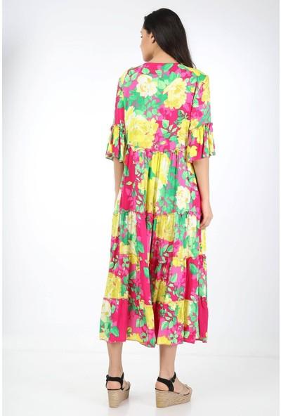 Luisido Pembe Gül Desenli Püsküllü Uzun Bohem Elbise