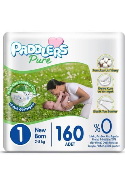Paddlers Pure Bebek Bezi 1 Numara Newborn 160'LI (2-5 Kg) Süper Fırsat Paketi