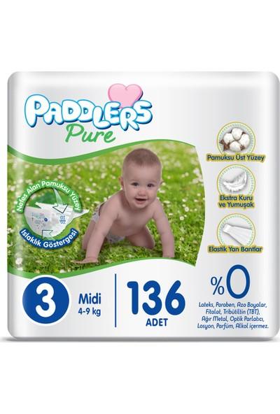 Paddlers Pure Bebek Bezi 3 Numara Midi 136'LI (4-9 Kg) Fırsat Paketi