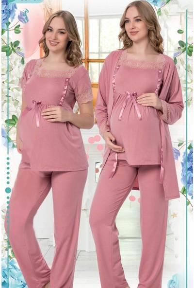 Hayal Sabahlıklı Lohusa Pijama Takımı Jenika 35702 3lü Sabahlıklı Hamile Pijaması
