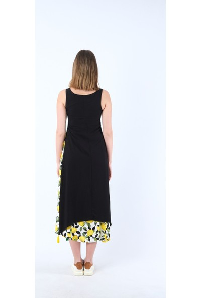 Vale Woman Otantik Etnik Kolsuz Uzun Limon Elbise