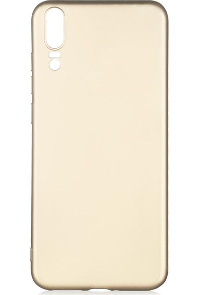 Hesaplı Dünya Huawei P20 Kılıf Mat Renkli Esnek Silikon Gold Renk Prm