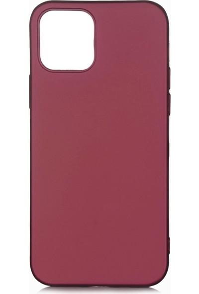 Hesaplı Dünya iPhone 12 Kılıf Mat Renkli Esnek Silikon Mürdüm Renk Prm