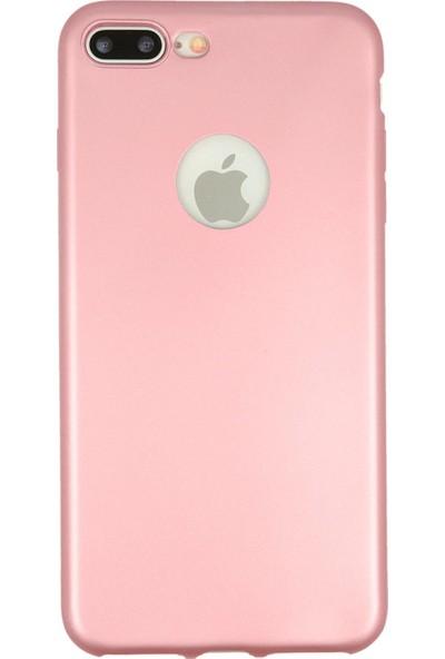 Hesaplı Dünya iPhone 8 Plus Kılıf Mat Renkli Esnek Silikon Rosegold Renk Prm