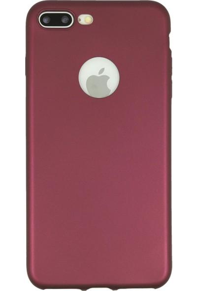 Hesaplı Dünya iPhone 8 Plus Kılıf Mat Renkli Esnek Silikon Mürdüm Renk Prm