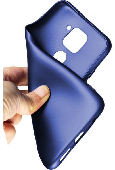 Hesaplı Dünya Samsung Galaxy A30 Kılıf Mat Renkli Esnek Silikon Lacivert Renk Prm