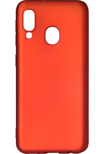 Hesaplı Dünya Samsung Galaxy A20E Kılıf Mat Renkli Esnek Silikon Kırmızı Renk Prm