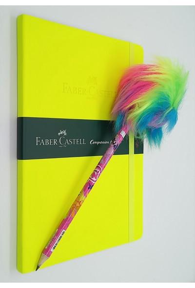 Faber-Castell A5 Suni Deri Çizgisiz Ajanda Neon Sarı + Tüylü Pony Kurşun Kalem