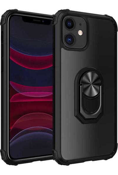 MBT Apple iPhone 11 Kılıf Yüzüklü Standlı Zırh Silikon Şeffaf