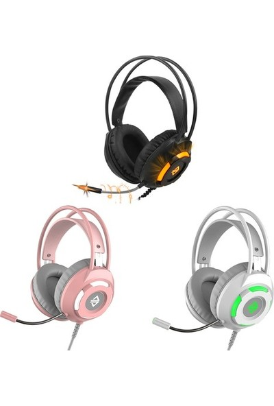 Ajazz AX120 7.1 Kanal Surround Oyuncu Kulaküstü Kulaklık Beyaz