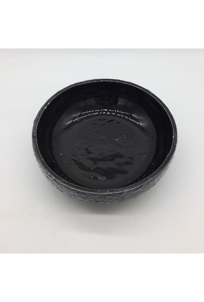 Afloday Seramik Mermer Desen Çanak Saksı-Siyah Xl