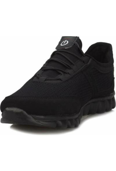 Texin Fileli Günlük Rahat Esnek Spor Ayakkabı Siyah