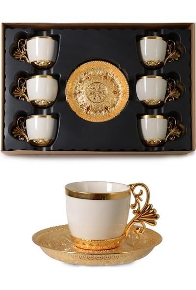 Ipek Porselen Lal Elegans 6 Kişilik Beyaz Altın Kahve Fincan Takımı