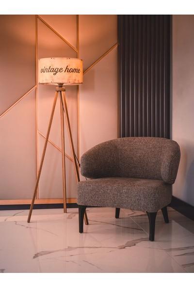 Dekoratif Dekoratifs Tripod Ahşap 3 Ayaklı Lambader Abajur Vintage Krem