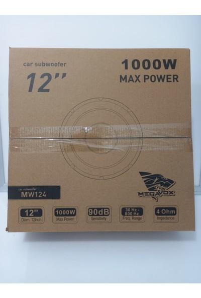 Megavox MW124 Oto Subwoofer 30 cm 200RMS 1000 Watt Max