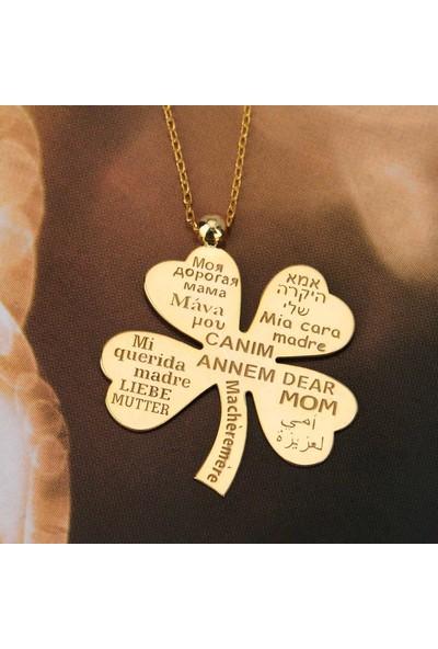 Coşar Silver Yirmi Dilde Canım Annem Yazılı Altın Kaplama Dört Yapraklı Yonca Kolye