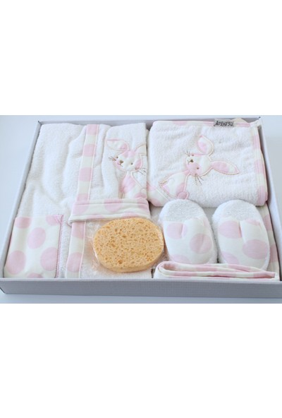 Bebitof Tavşan Aşkı Kız Bebek Bornoz Seti - Pembe