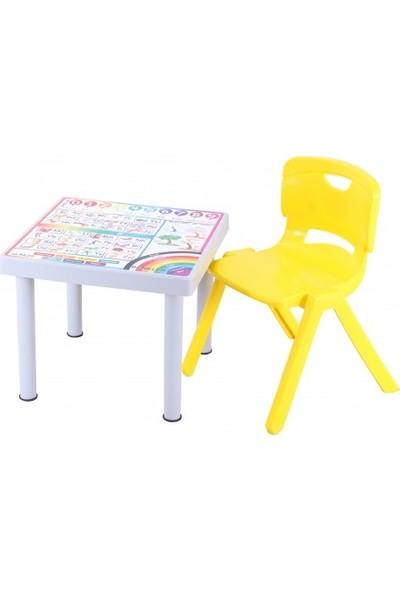 Sağlam Plastik Mandella Rubi Türkçe Desenli Çocuk Masası 1 Adet Nova Büyük Çocuk Koltuk