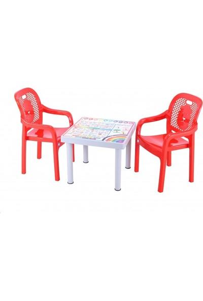 Sağlam Plastik Mandella Rubi Türkçe Desenli Çocuk Masası 2 Adet Rubi Çocuk Koltuk