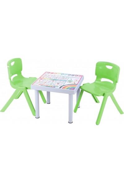 Sağlam Plastik Mandella Rubi Ingilizce Desenli Çocuk Masası 2 Adet Nova Büyük Çocuk Koltuk