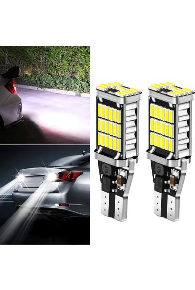 Gürler Oto Aksesuar T15 LED Ampül Geri Vites LED 45 Ledli 12V W16W Beyaz Renk 2'li