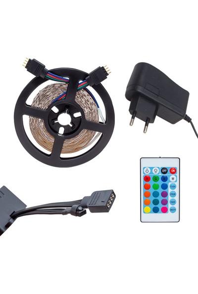 Blue Lıghtıng Animasyonlu Tak Çalıştır Kumandalı Trafolu 5 Metre Rgb Şerit LED Aydınlatma(Iç ve Dış Mekan)