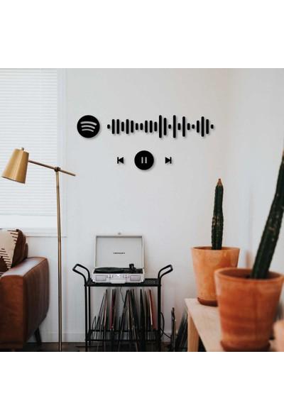 Meşgalem Kişiye Özel 3 Boyutlu Spotify Siyah Ahşap Ev ve Oda Tablosu
