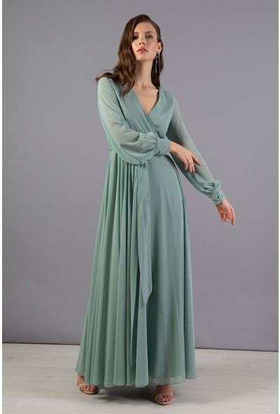 Carmen Çağla Şifon Kruvaze Uzun Abiye Elbise
