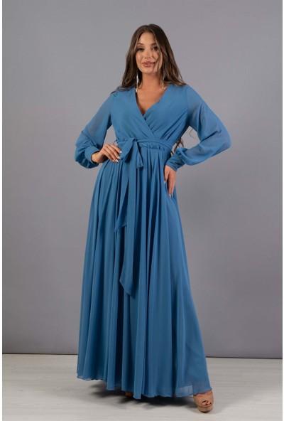 Carmen Indigo Şifon Kruvaze Uzun Abiye Elbise