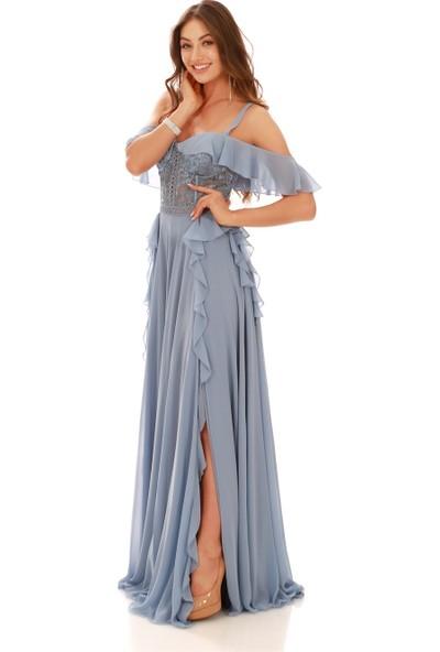 Carmen Indigo Volanlı Üstü Dantel Yırtmaçlı Abiye Elbise