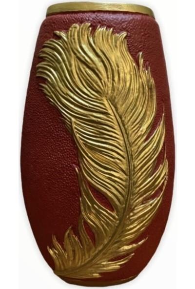 Arem Dekor Aksesuar Yapraklı Kırmızı Oval Vazo