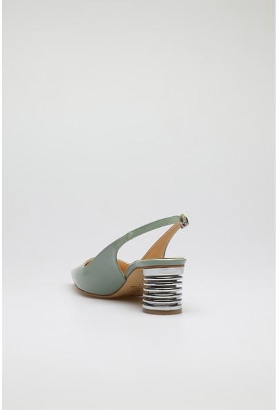 Altinayak Arkası Açık Rugan Klasik Topuklu Ayakkabı
