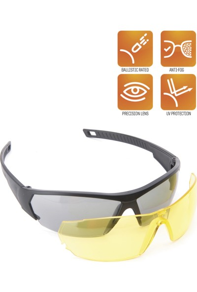 Yds Sport Zen Balistik Gözlük - Çift Lens -Siyah-Sarı (Uv Filtreli, Buğulanma Ve Çizilmeye Karşı Dayanıklı Çift Lensli Balistik Gözlük)