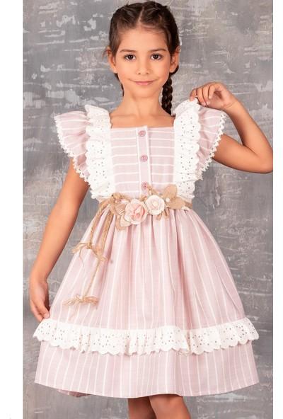 Tivido Fisto Detaylı Keten Kız Çocuk Elbisesi