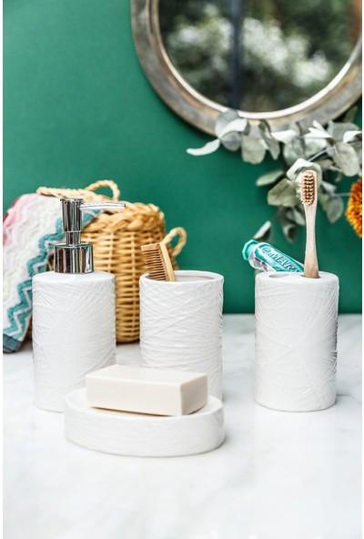 Arma House 4'lü Rosea Seramik Beyaz Banyo Seti