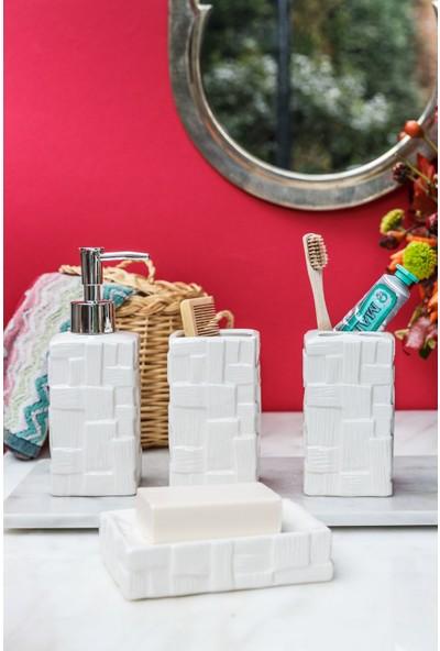 Arma House 4'lü Seramik Hasır Desenli Beyaz Banyo Seti