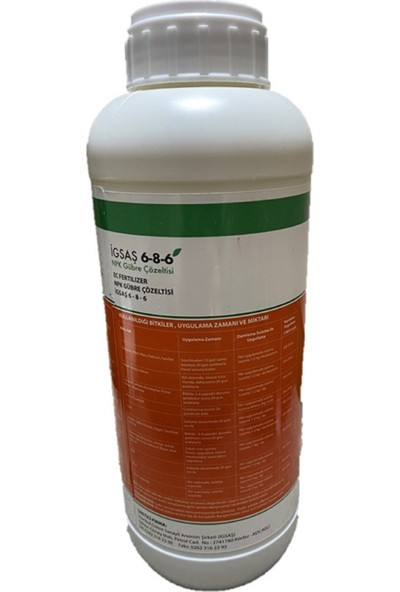 Igsaş 6 8 6 Fertılızer Npk Çözeltisi Bahçe Çiçek Bitki Besini Suda Çözünür Azot Fosfor Potasyum Sıvı Gübre 1 L