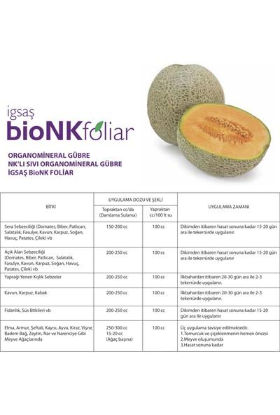 İgsaş Bionk Foliar Organik Karışımlı Bahçe Çiçek Bitki Besini Azot Fosfor Nklı Sıvı Organomineral Gübre 1 Lt