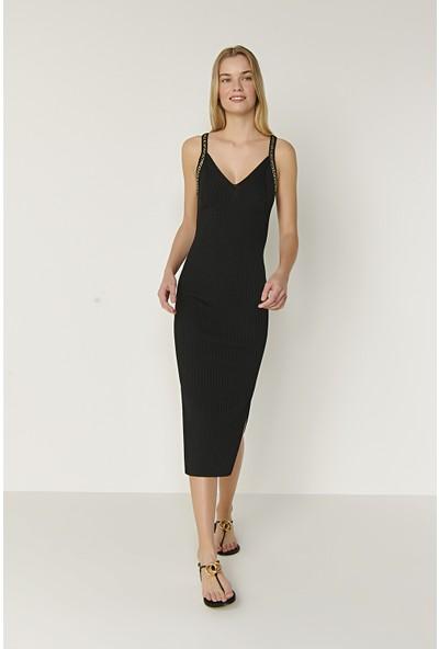 Join Us Askılı Zincir Detaylı Triko Elbise-Siyah