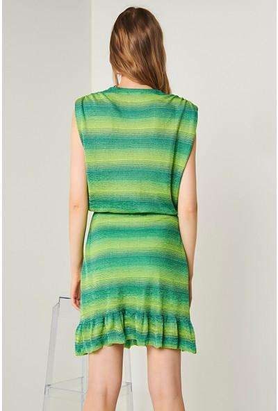 Join Us Kruvaze Yaka Triko Bluz-Yeşil