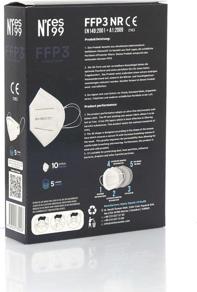 Nefes N99/FFP3 Beyaz Tek Tek Paketli Maske 1 Kutu 10 Adet