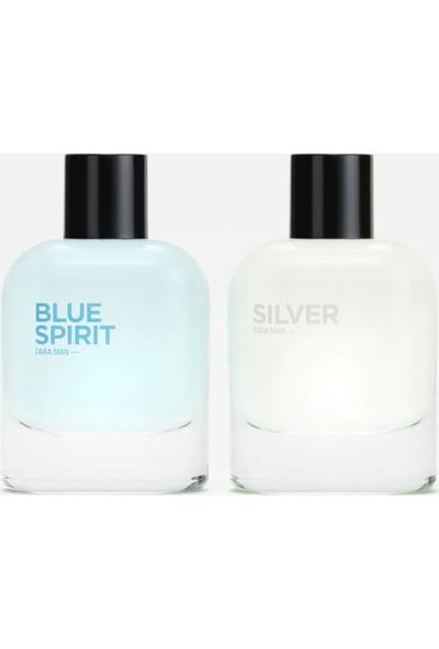Zara Man Silver Edt 80 ml + Zara Man Blue Spirit Edt 80 ml Erkek Parfüm